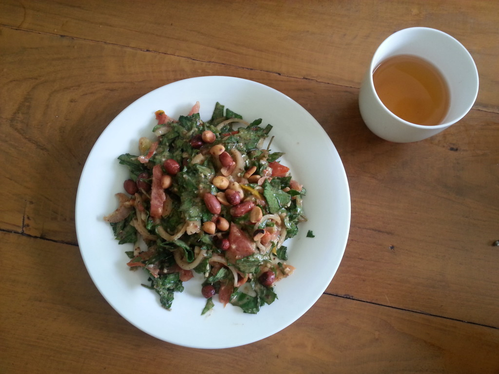 """Lephet Thok"". Tea leaves salad. Traditional dish in Myanmar."