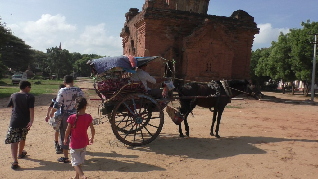 Horse and cart is one way to travel the plains of Bagan.