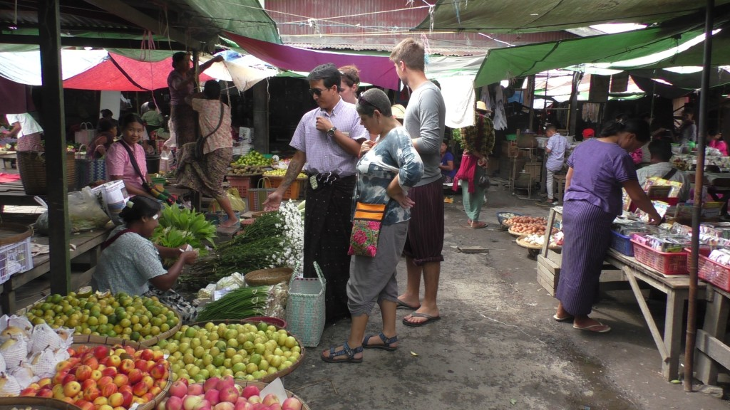 Shopping in the market for the cooking class.