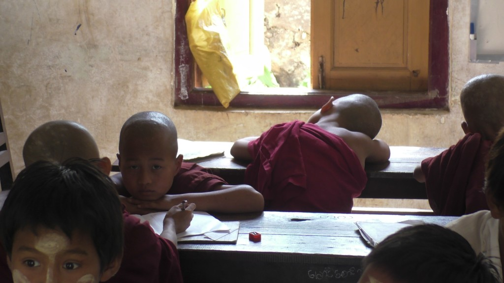 Children monks study in Pa-O village school