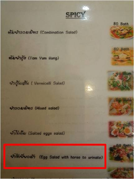 A strange dish we found on a menu in Udon Thani